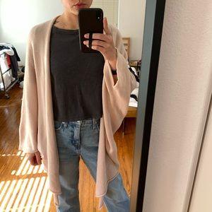 St. John cardigan sweater pink drape open wool top